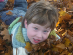 Kaylen in leaves 2008